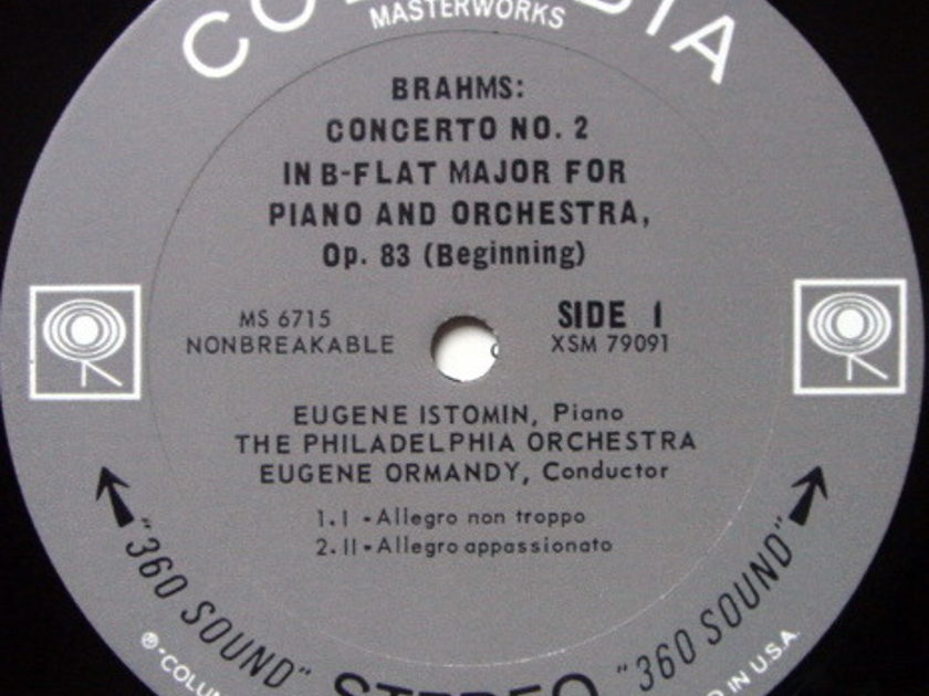 Columbia 2-EYE / ISTOMIN-ORMANDY, - Brhams Piano Concerto No.2, MINT!