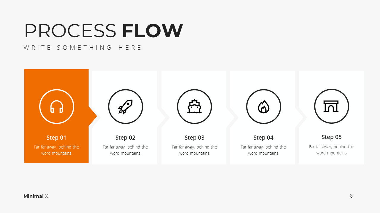 Minimal X Marketing Plan Presentation Template Process Flow