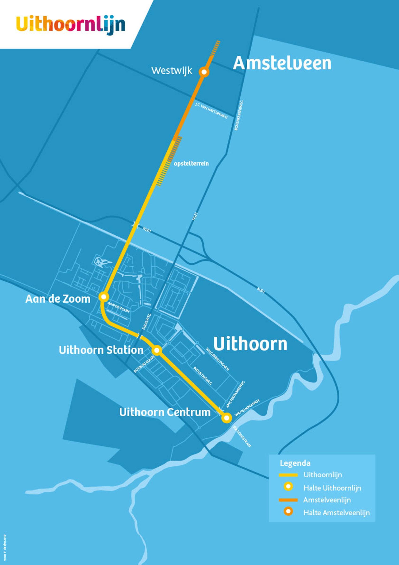 Het tracé van de Uithoornlijn, vanaf Amstelveen Westwijk tot Uithoorn Centrum.
