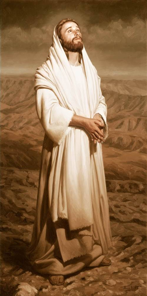 Beautiful picture of of Jesus Christ praying in the desert. Painting is done in sepia tones.