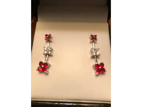 Red Drop Earrings by CDC