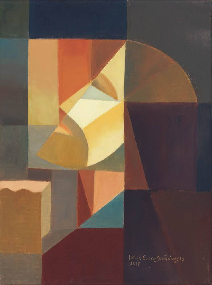 Cubism portrait of Jesus praying with His face lifted toward Heaven.
