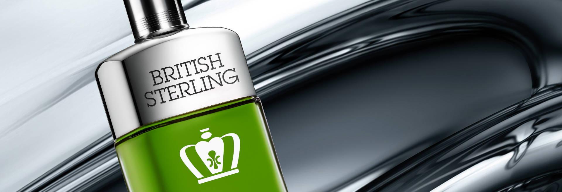 Bottle of British Sterling cologne, silver