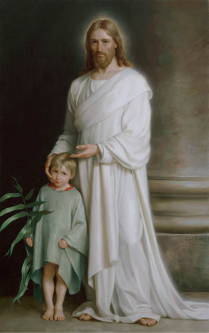 Classic painting of Christ gesturing to a young child while teaching.