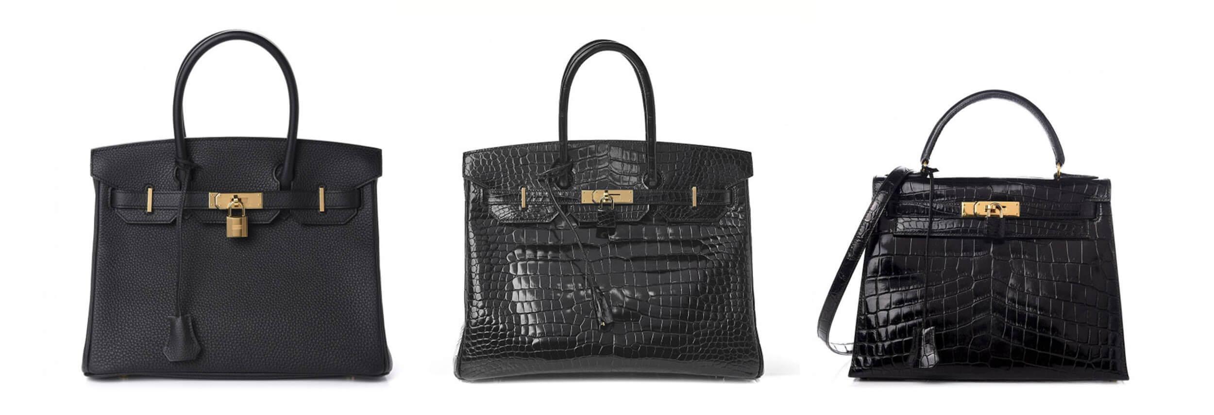 Three Black Hermes Bags