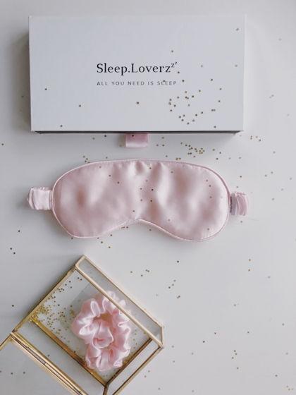 Маска для сна из натурального шелка с шелковым наполнителем РОЗОВАЯ