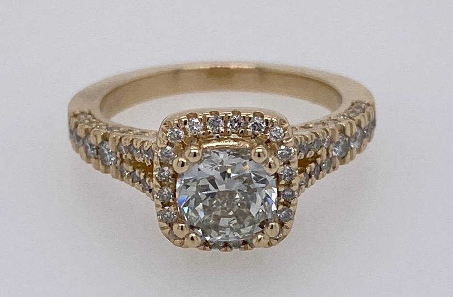 custom yellow gold split shank diamond engagement ring