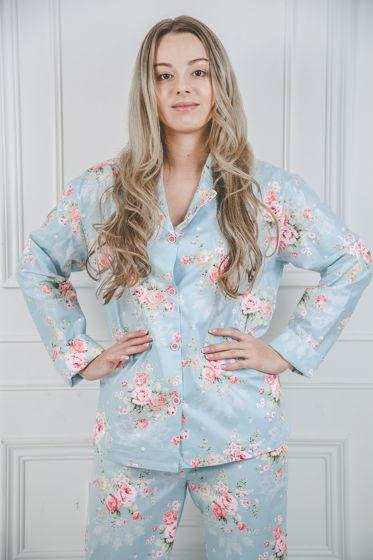 """Женская хлопковая рубашка """"Цветы Тифани""""."""