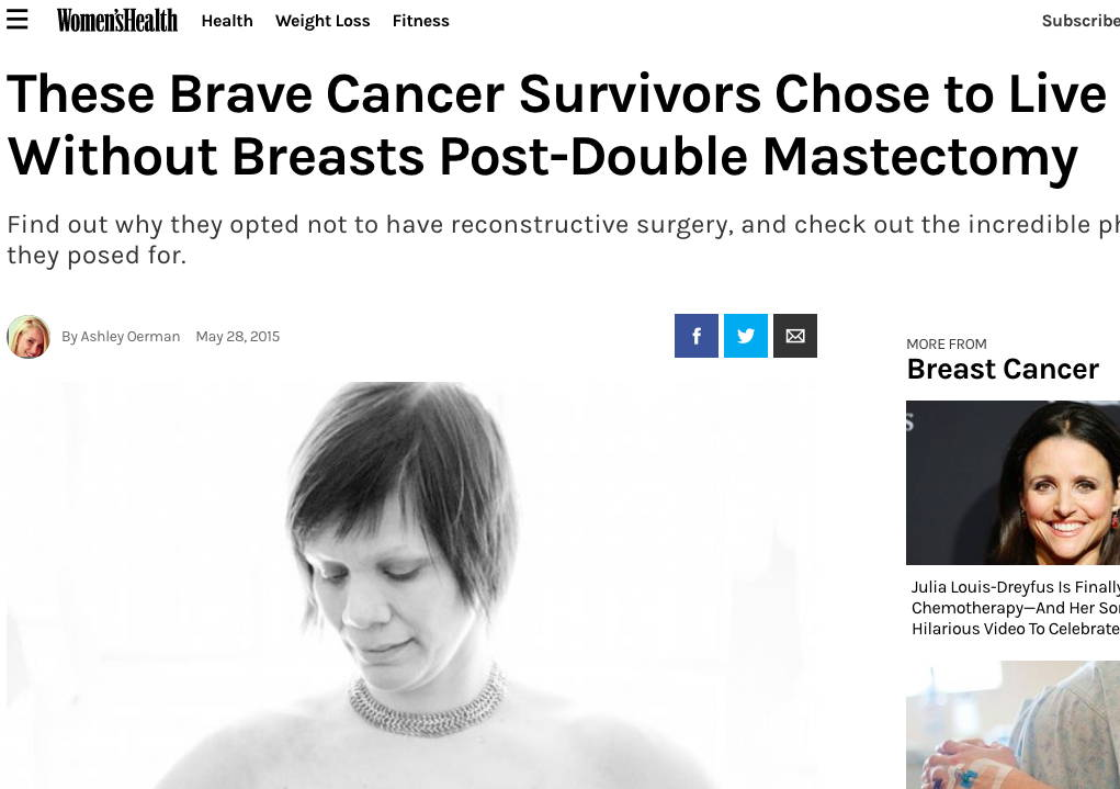 Women's Health Magazine - These Brave Cancer Survivors Chose to Live Without Breasts Post-Double Mastectomy