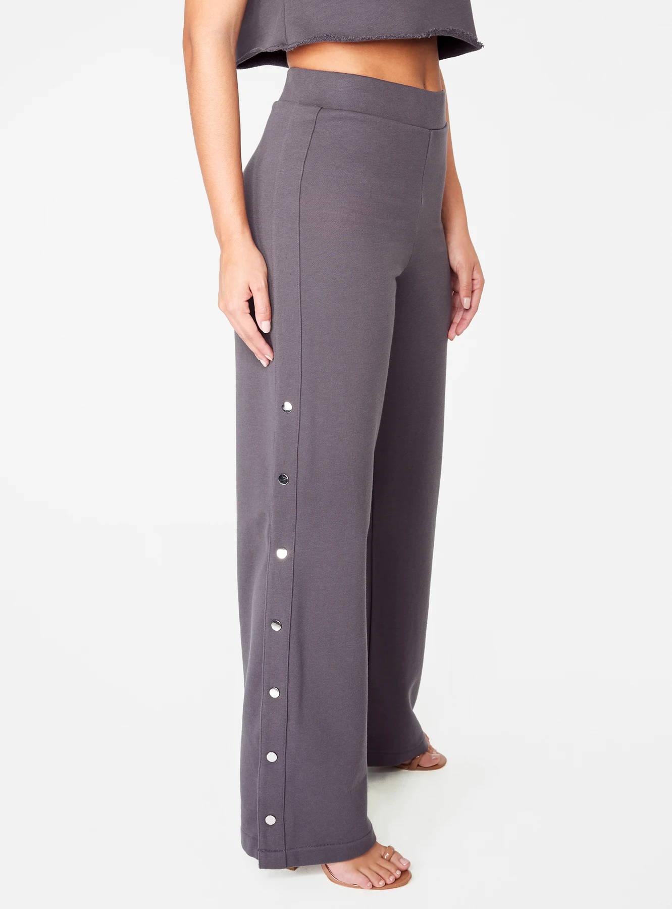 Dark Grey High Waisted Knit Side Snap Pant