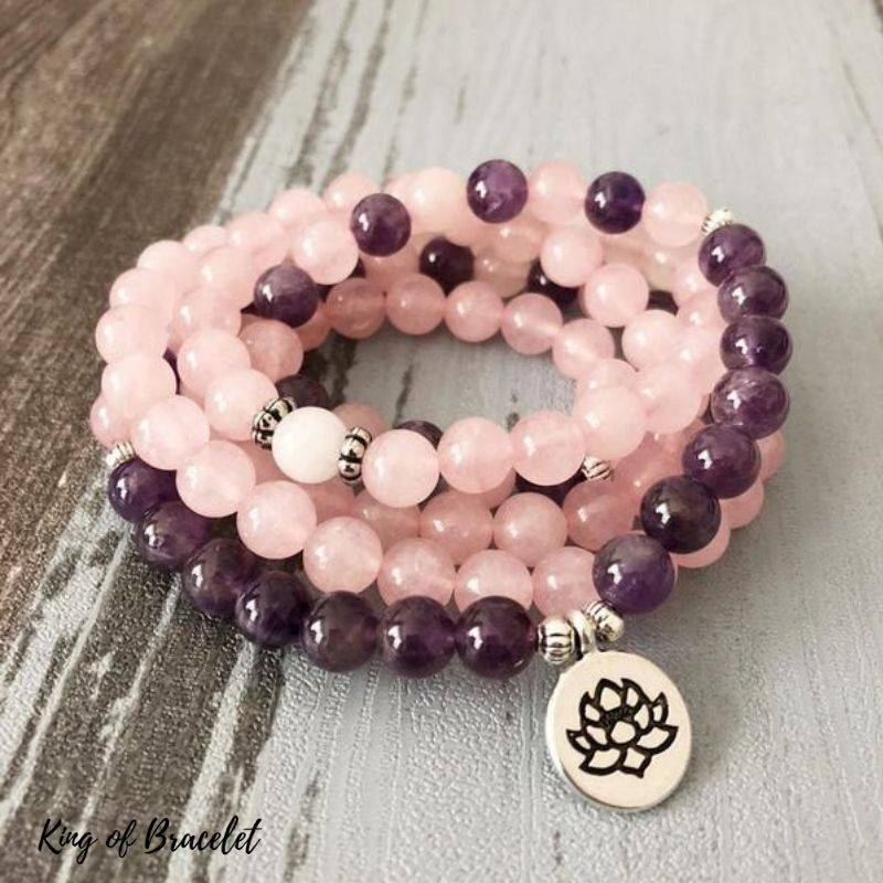 Bracelet Mala 108 Perles en Améthyste et Quartz Rose - King of Bracelet