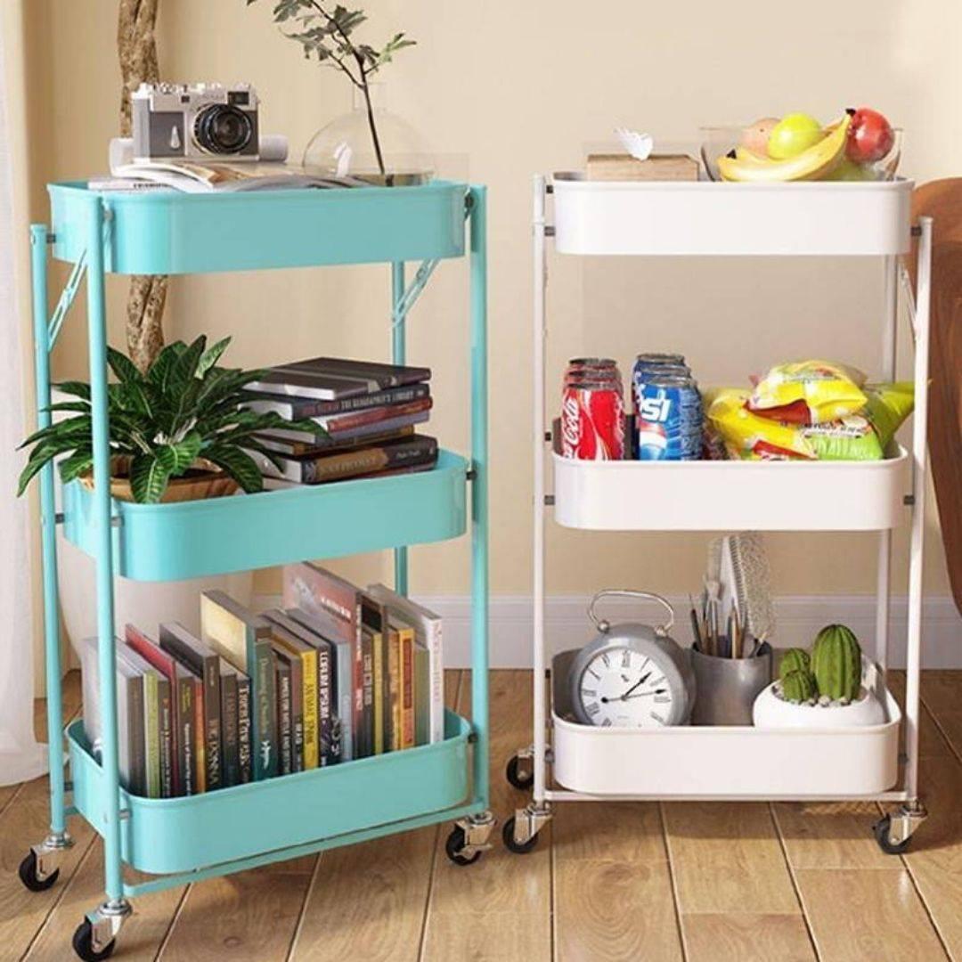 utility cart, rolling shelf, 3 tier shelf