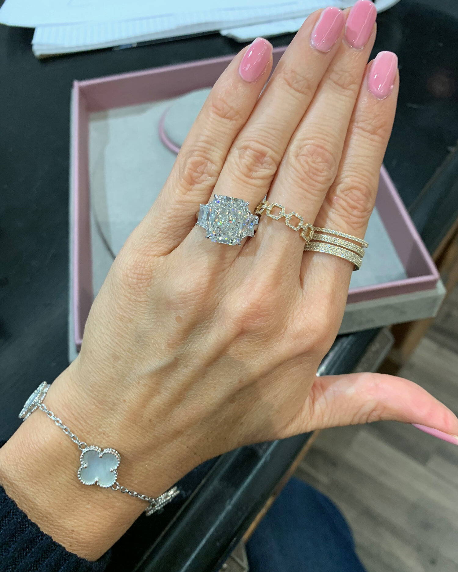 Miss Diamond Ring 7 Carat 8 Carat Cushion Diamond Engagement Ring