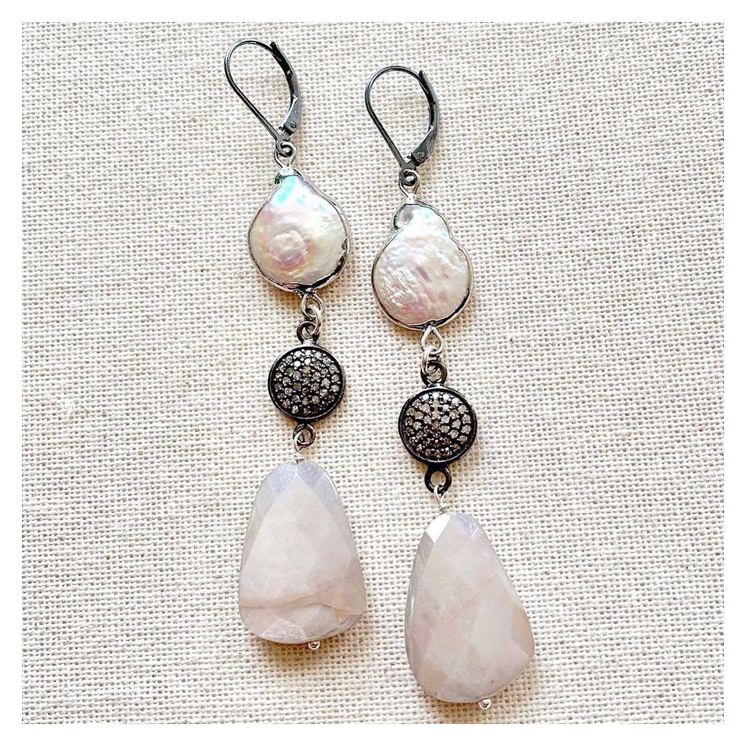 Statement Pave Diamond and Moonstone Earrings