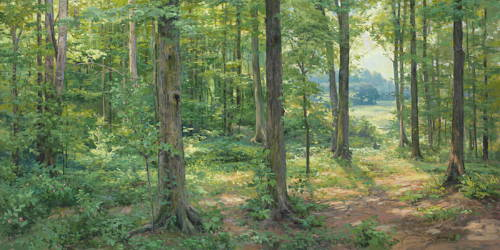 Painting of the forest trees in Palmyra where Joseph Smith prayed.