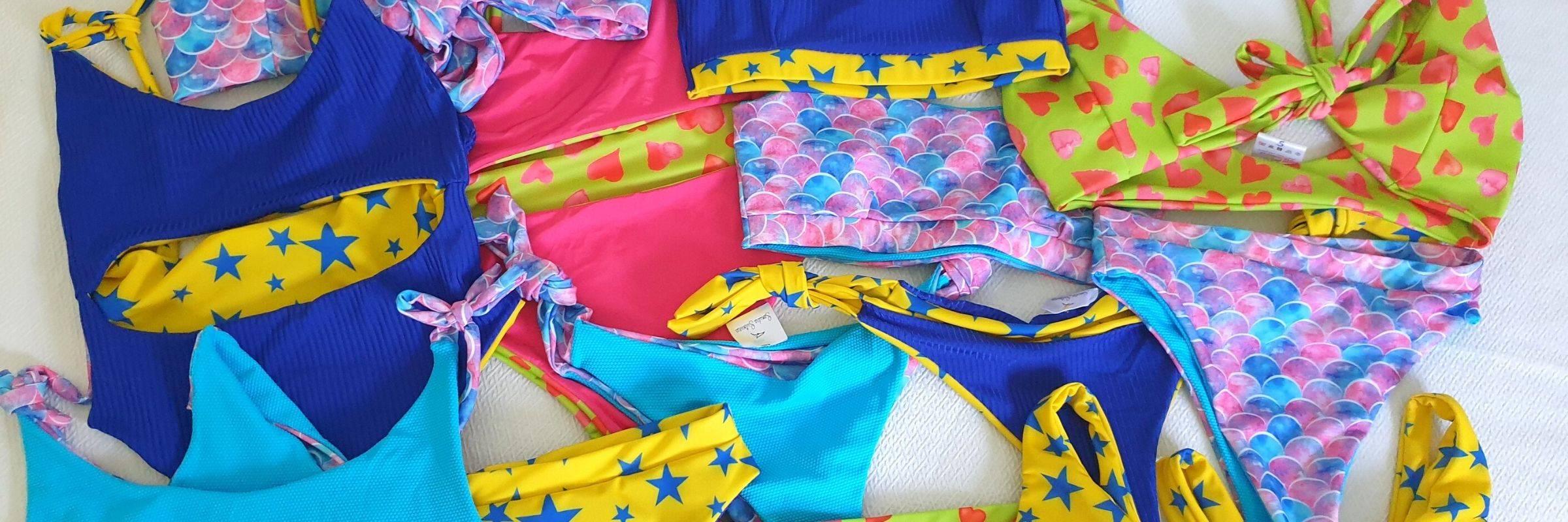 Sustainable swimwear from Samudra swimwear, colorful spanish swimwear pieces made out of Econyl