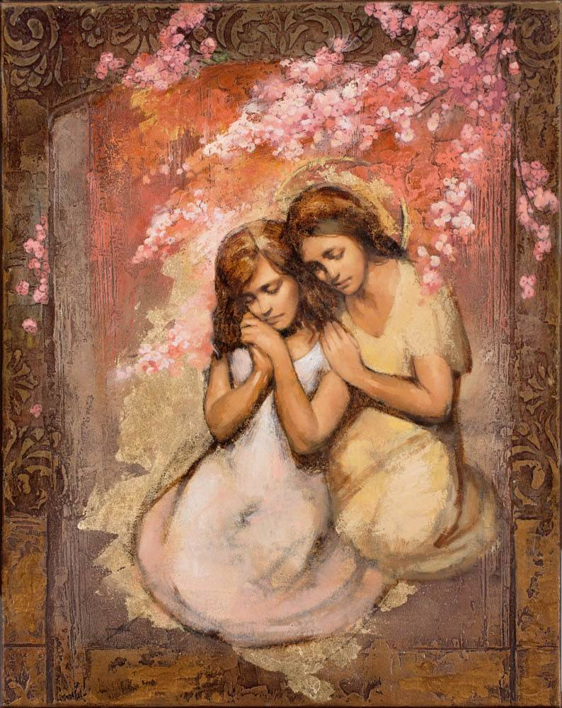 LDS art painting of one girl comforting another.