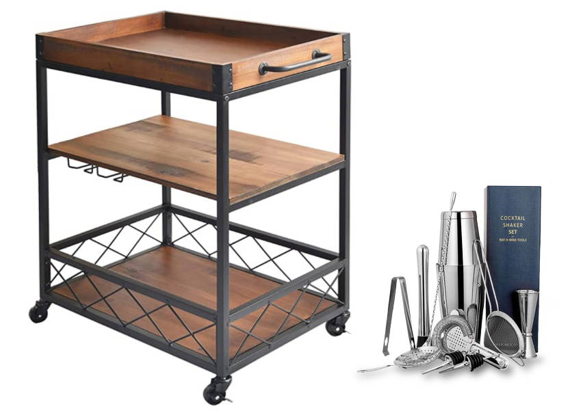 Rolling Bar Cart, Cocktail Shaker Set, Bartender Kit
