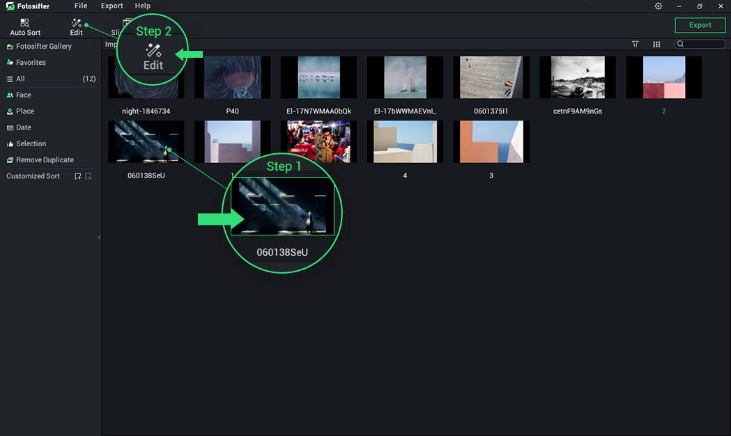 Enter Picture Edit Mode in Fotosifter Way 1