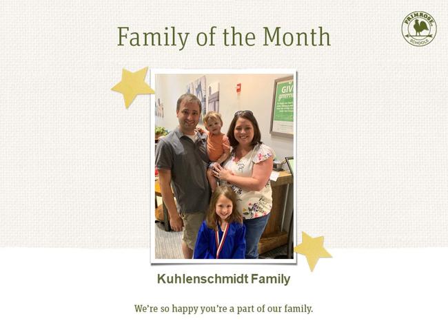 Primrose family of month - August - parent appreciation
