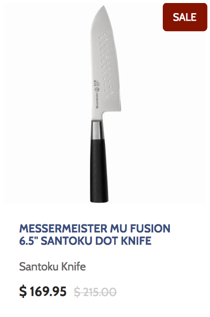 Messermeister Mu Fusion 6.5 Inch Santoku Dot Knife