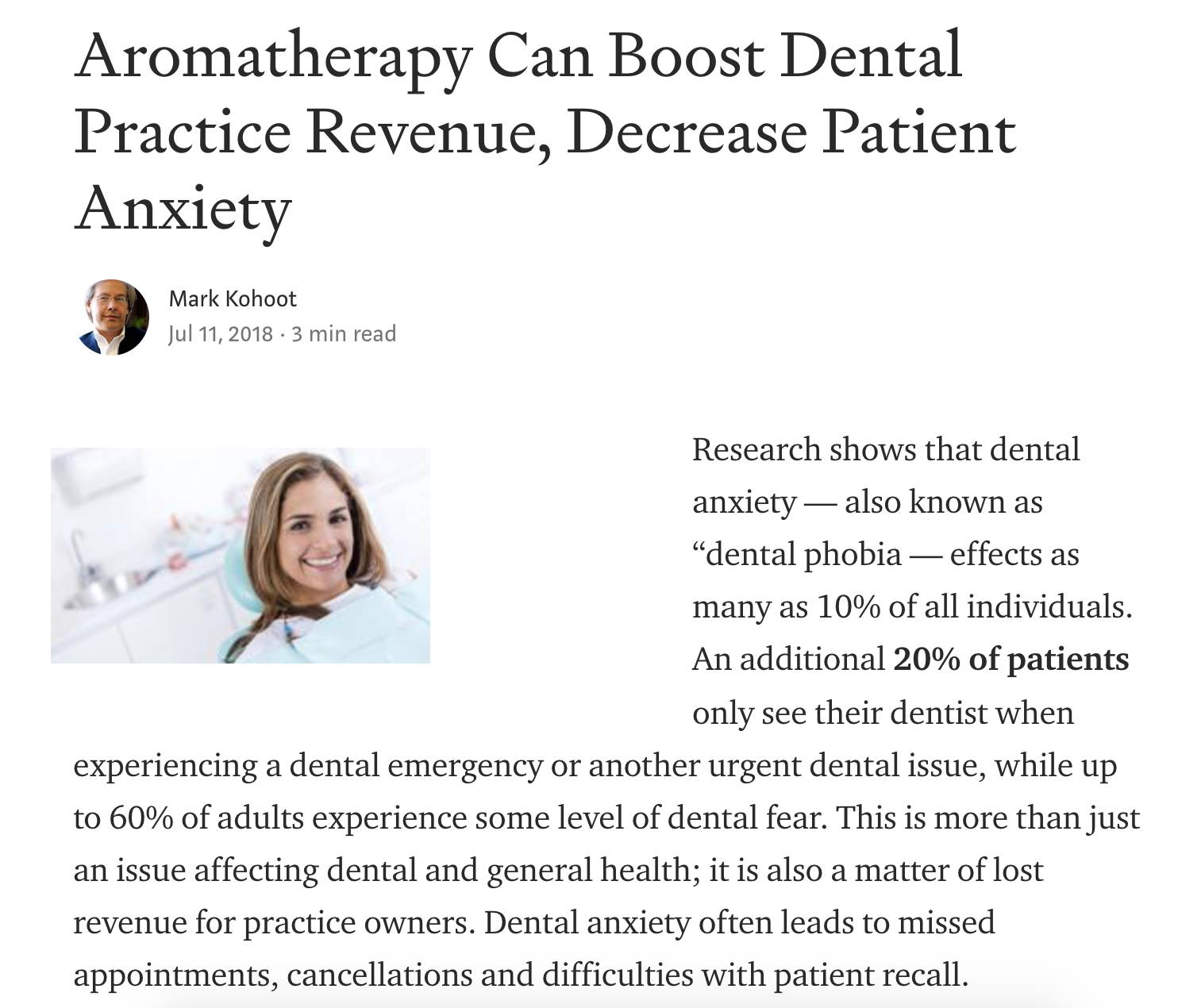 dental anxiety article screenshot