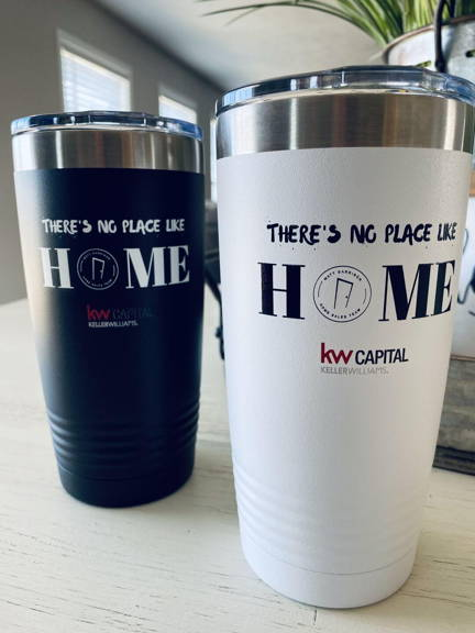 Keller Williams real estate branded Custom logo coffee mug and tumbler happy customer testimonial for promotional gifts for real estate clients