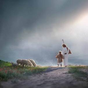 LDS art painting of Jesus walking with a young shepherd girl.