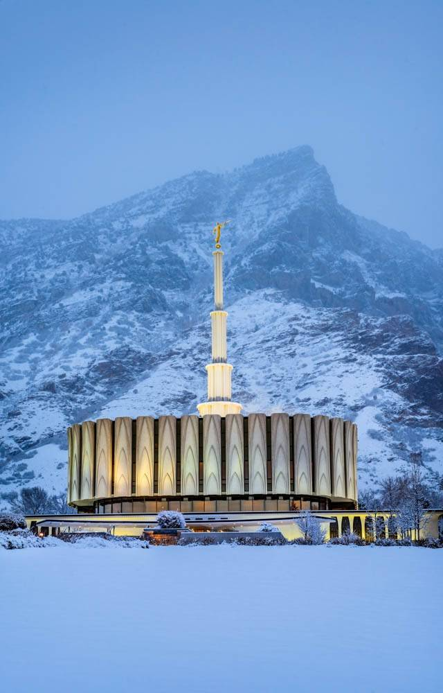 Vertical image of the Provo Temple after snowfall.