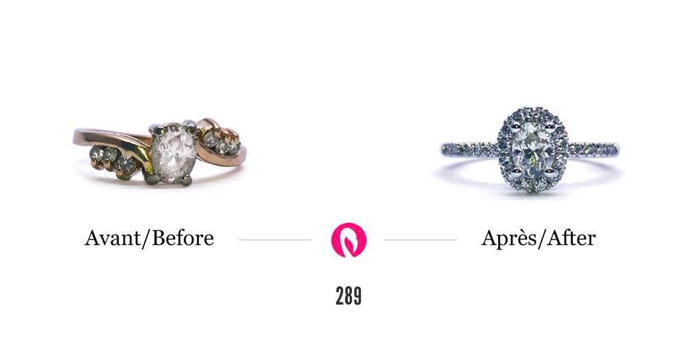 Transformation d'une bague avec petits et gros diamants en une bague éternité spectaculaire avec diamant principal