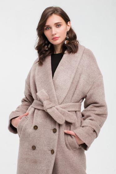 Зимнее длинное пальто из альпаки кофе