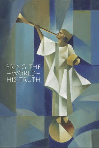"""LDS art poster of the Angel Moroni done in cubism style by Jorge Cocco. Quote reads: """"Bring the World His truth."""""""