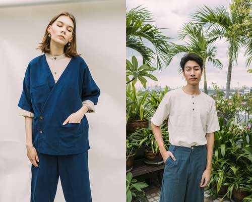 Woman wearing indigo jinbei-style coat with matching trousers and beige collarless shirt and man wearing a collarless short sleeve henley with indigo cotton trousers from sustainable fashion brand Seeker x Retriever