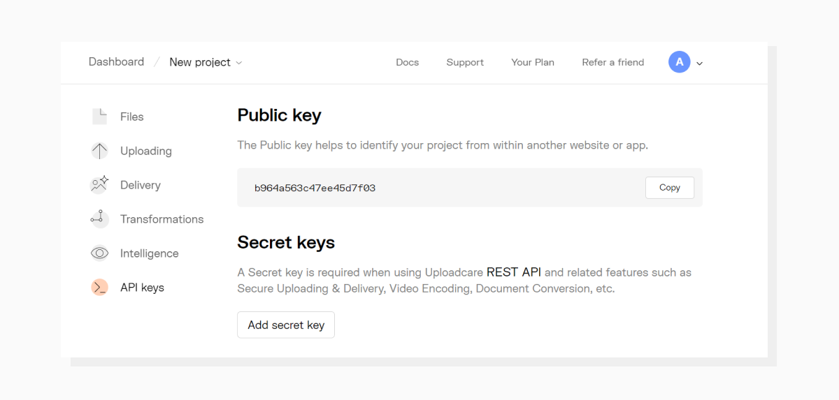 The content on the API keys page