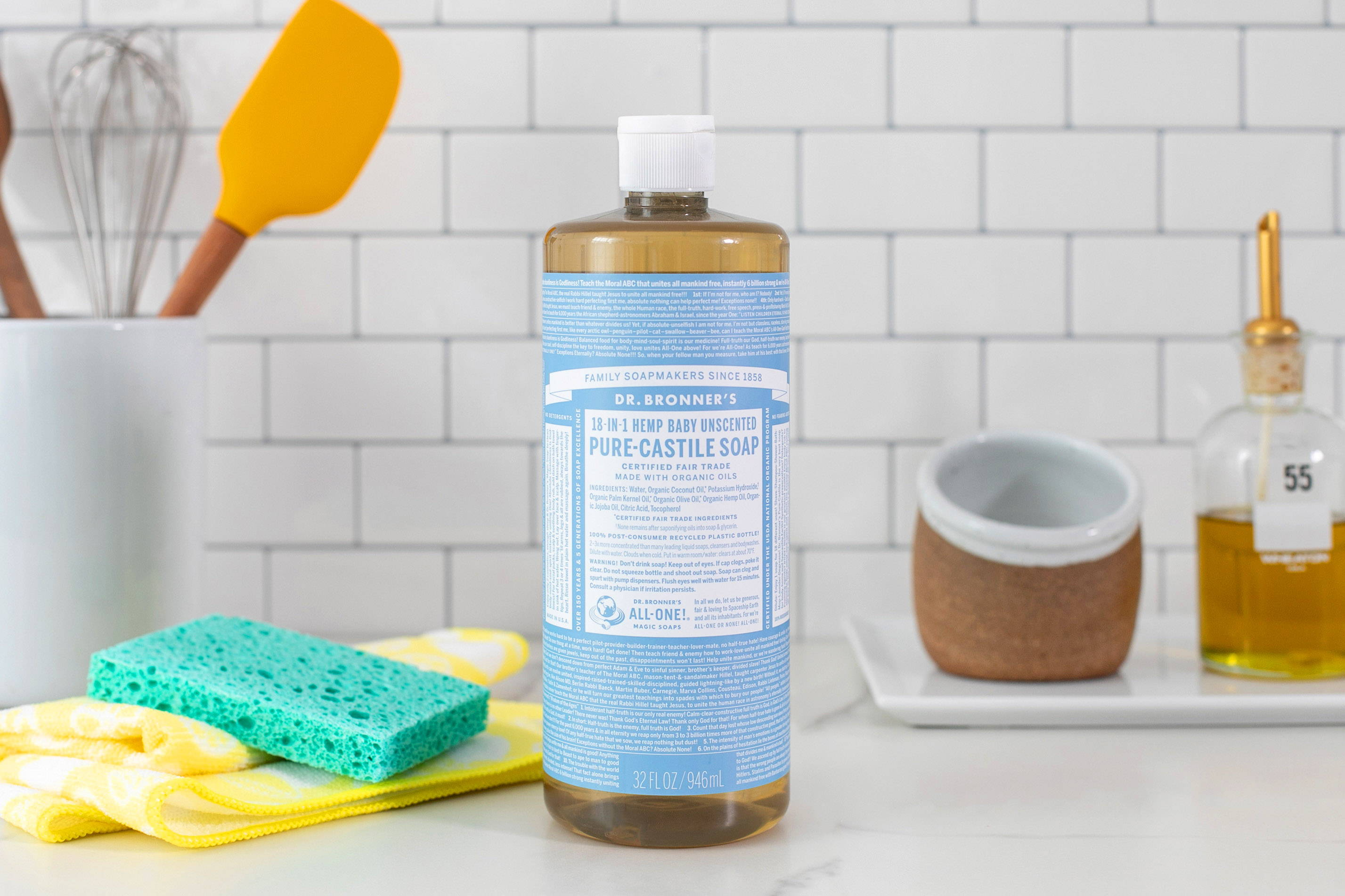 Liquid castile soap  is great as an all-purpose surface cleaner, floor cleaner, or for use as an all-natural dish soap