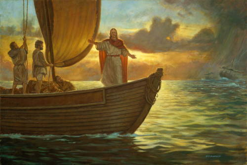 Painting of Jesus standing on a boat after having calmed the sea.
