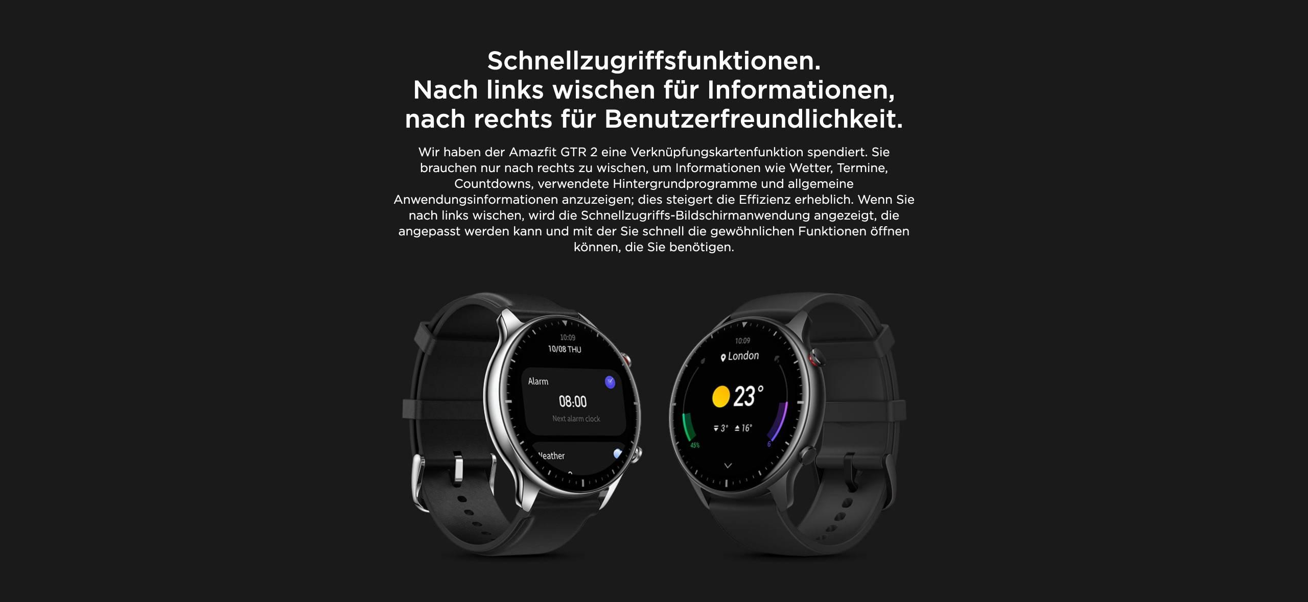 Amazfit GTR 2 - Schnellzugriffsfunktionen. Nach links wischen für Informationen, nach rechts für Benutzerfreundlichkeit.