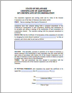 delaware certificate of amendment