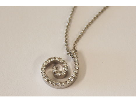 White Gold Necklace with Swirl Diamond Pendant
