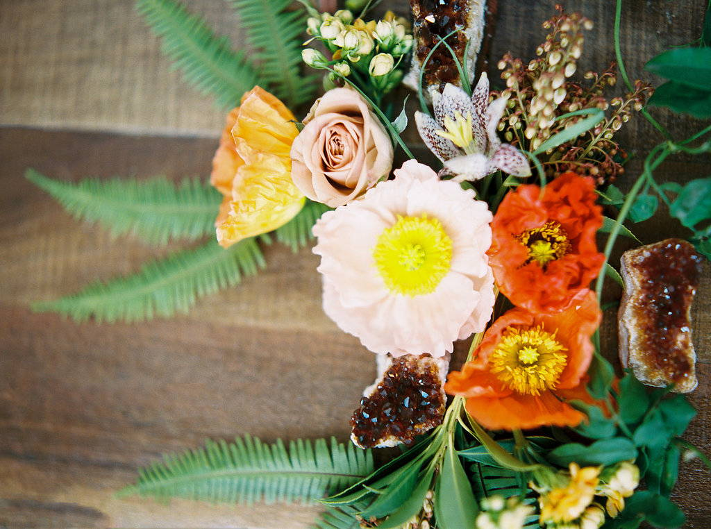 Loose blooms with crystals fern, poppies and roses