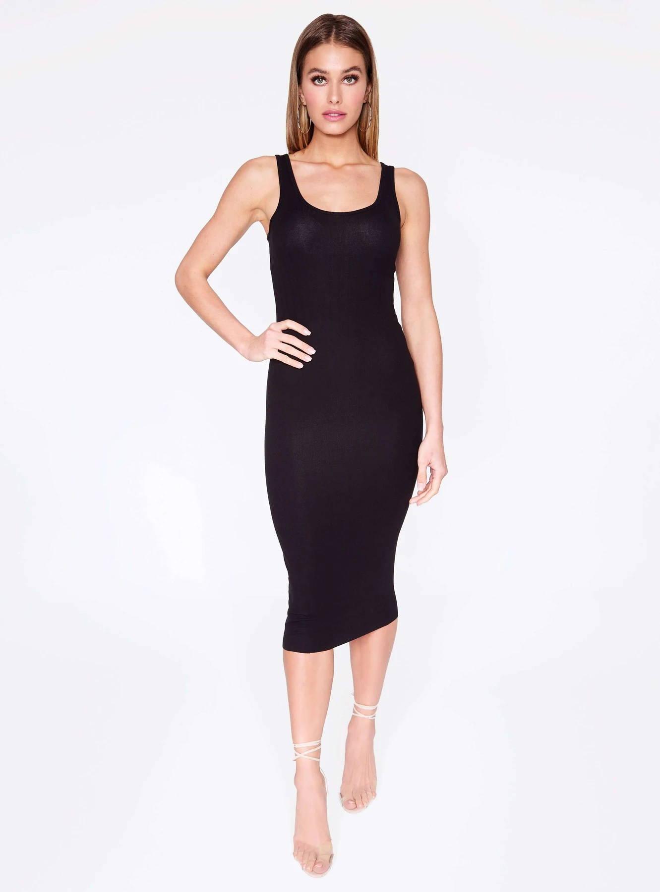 HeyYou Basic Black Ribbed Tank Dress