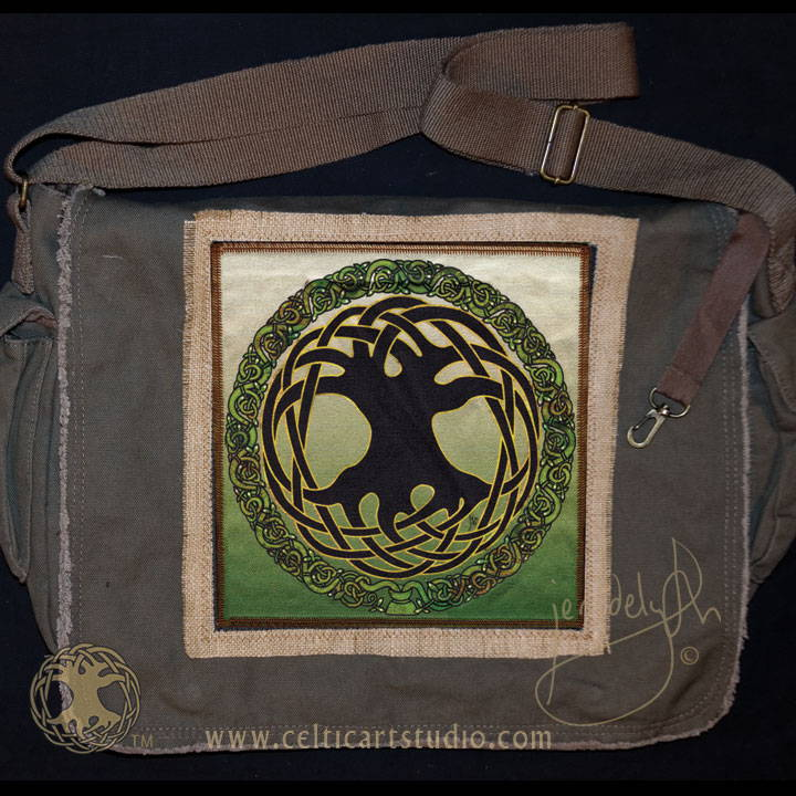 Celtic Art Studio Tree of Life Canvas Messenger Bag Celtic Festival Online Marketplace