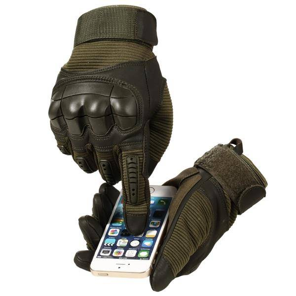 Tactical PU leather military gloves with hard nuckle touchscreen compatible