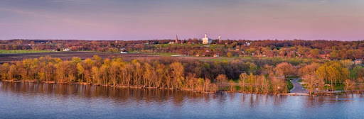 Panoramic photo of Kirtland with the Nauvoo Temple centered in the background.