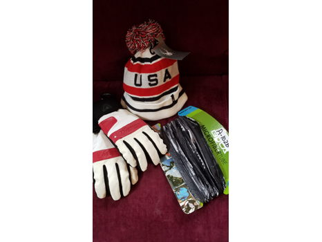 Marker Thinsulate Gloves Size L, Spyder USA Beanie, Bula Microfiber Tube