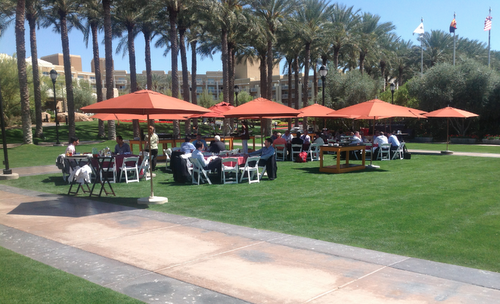 Advisors and golfers overlapped on the Phoenix Marriott's grounds.