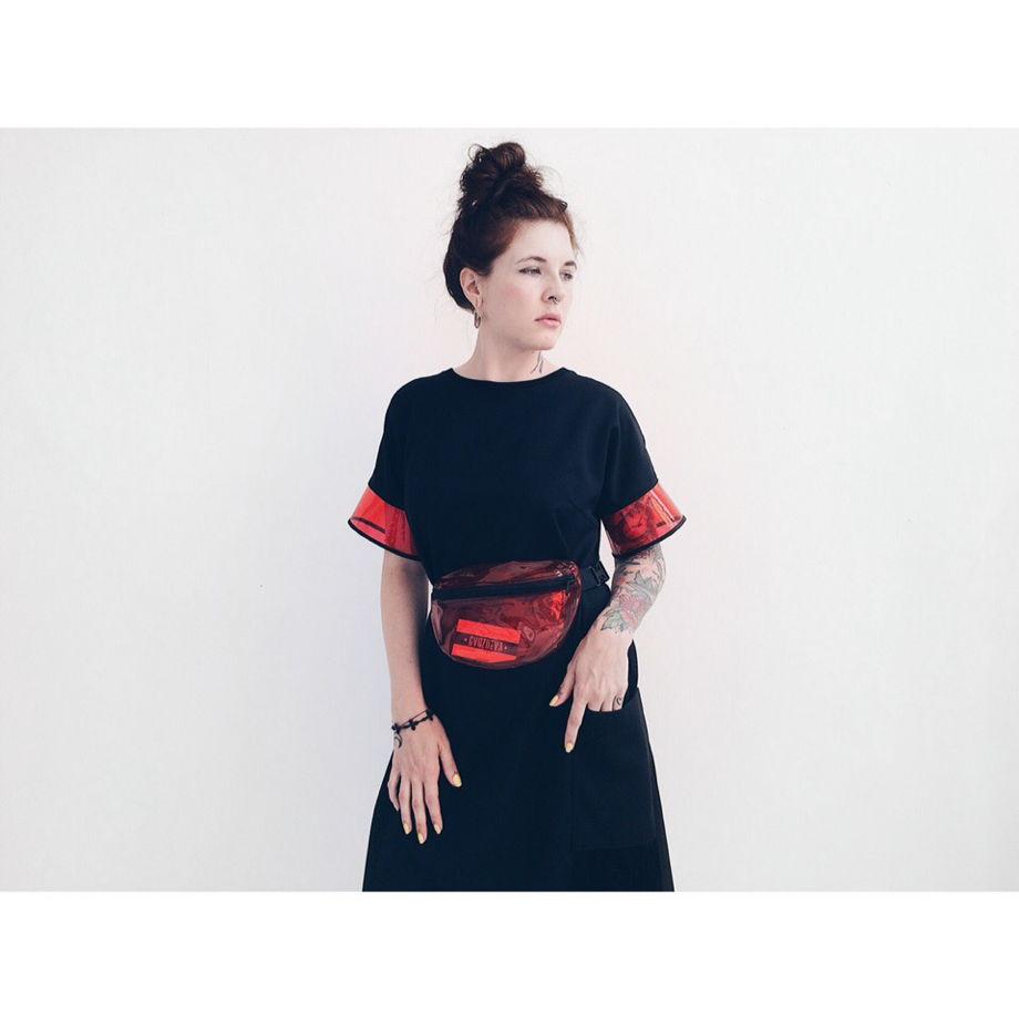 Платье с прозрачными рукавами GVOZDEVA
