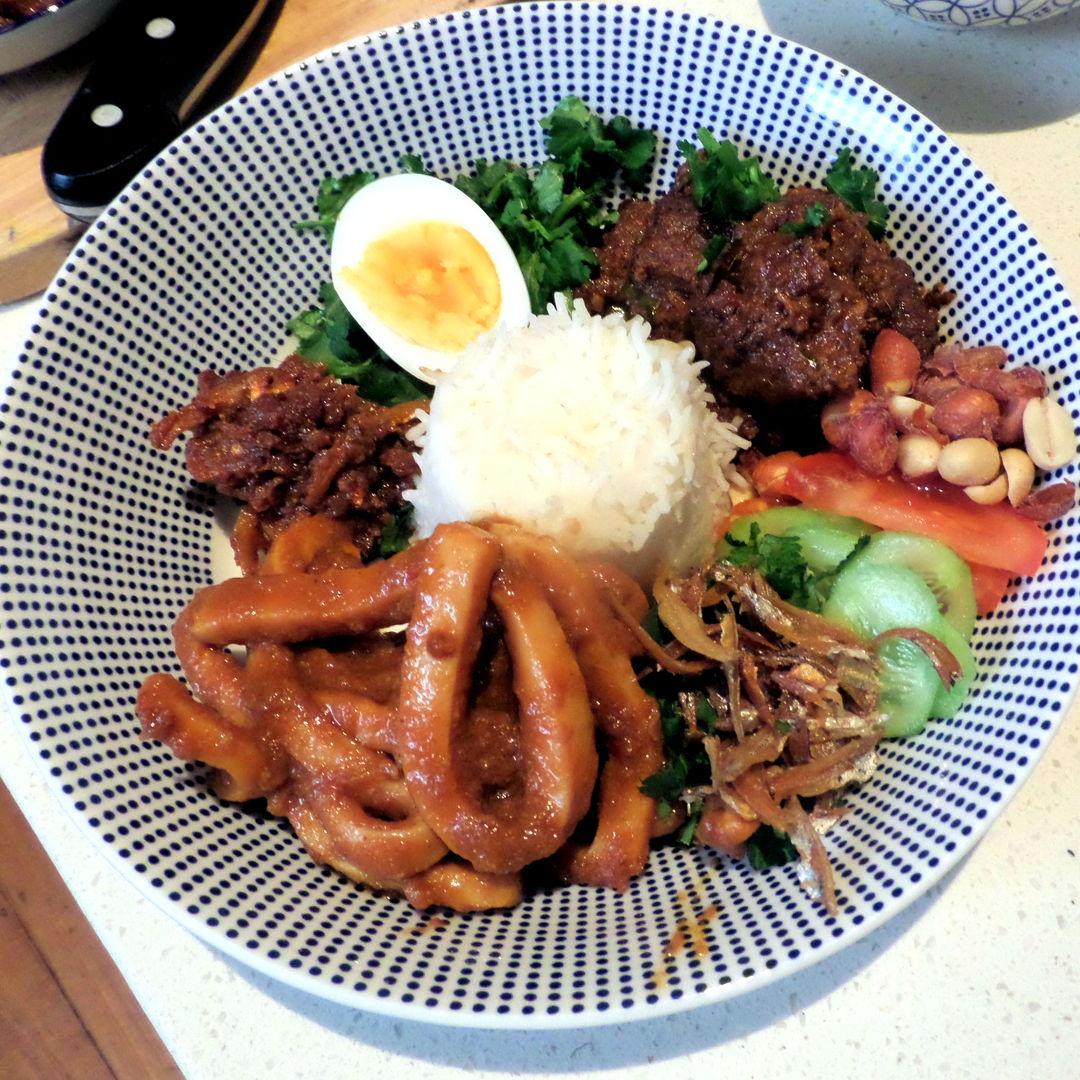 Nasi Lemak with Lamb Rendang ,Sambal Sotong and Sambal Ilan Bilis