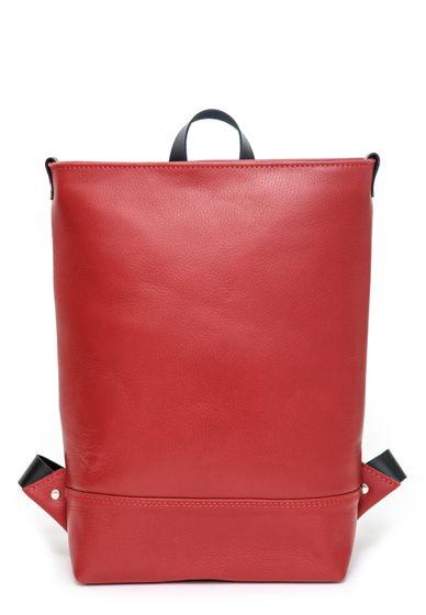 Кожаный красный городской рюкзак