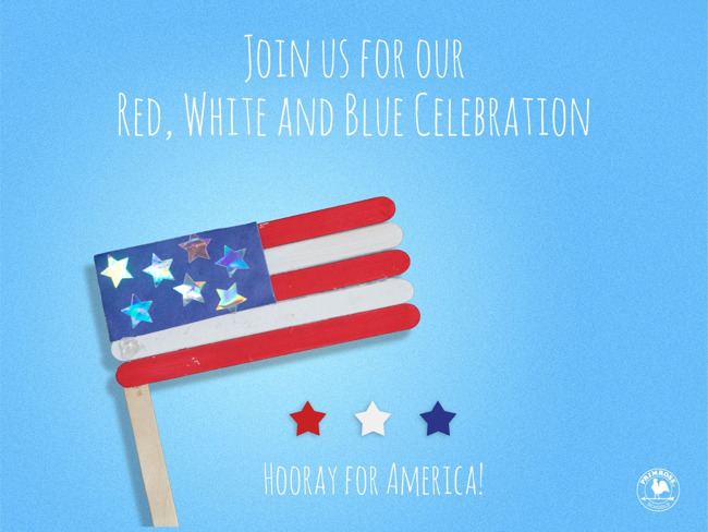 """An American flag made of popsicle sticks sits on a blue background that says """"Hooray for America!"""""""